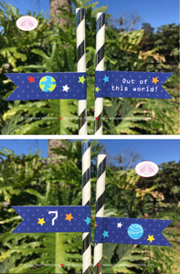 Outer Space Birthday Party Straws Pennant Paper Girl Boy Planets 1st 2nd 3rd 4th 5th 6th 7th 8th 9th Boogie Bear Invitations Galileo Theme