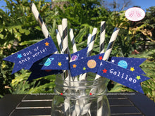 Load image into Gallery viewer, Outer Space Birthday Party Straws Pennant Paper Girl Boy Planets 1st 2nd 3rd 4th 5th 6th 7th 8th 9th Boogie Bear Invitations Galileo Theme