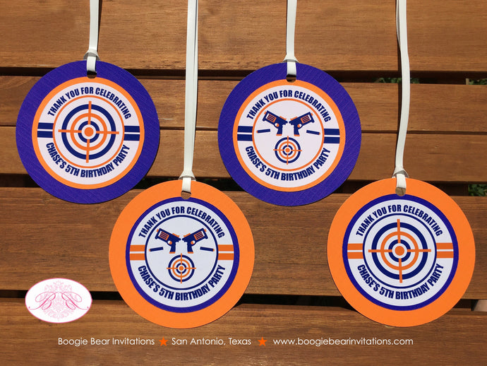 Foam Dart Gun Birthday Party Favor Tags Orange Blue Bullseye Target Practice Boy 4th 5th 6th 7th 8th 9th Boogie Bear Invitations Chase Theme