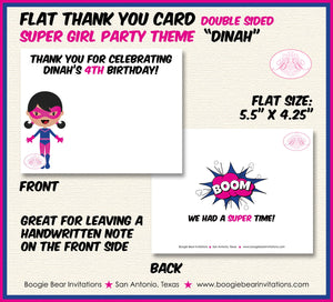 Pink Super Girl Birthday Party Thank You Card Superhero Supergirl 1st 2nd 3rd 4th 5th 6th 7th Boogie Bear Invitations Dinah Theme Printed