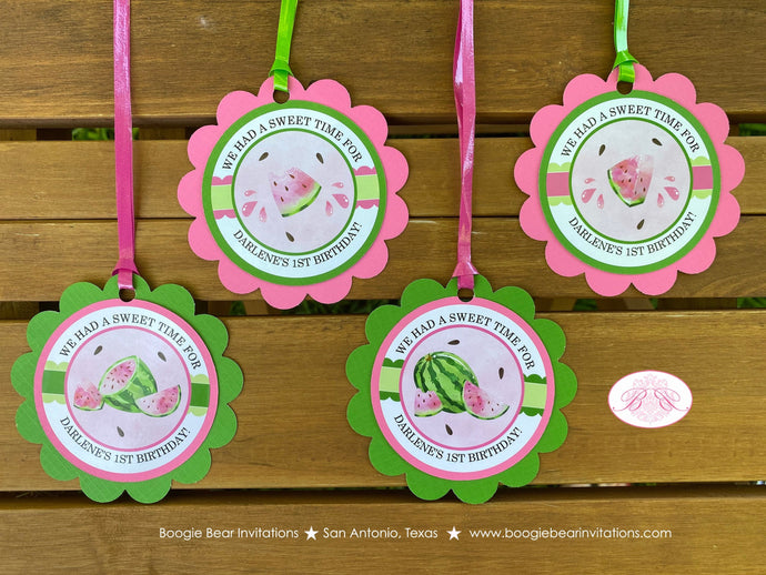 Pink Watermelon Party Favor Tags Birthday Girl One In a Melon Two Sweet Green Summer Fruit Boogie Bear Invitations Darlene Theme