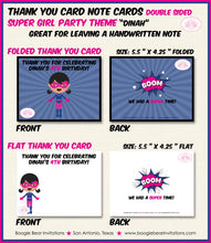 Load image into Gallery viewer, Pink Super Girl Birthday Party Thank You Card Superhero Supergirl 1st 2nd 3rd 4th 5th 6th 7th Boogie Bear Invitations Dinah Theme Printed