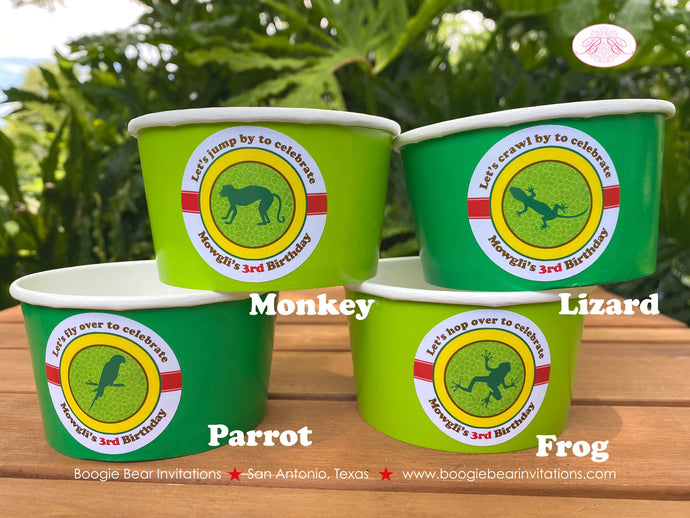 Rainforest Birthday Party Treat Cups Candy Rain Forest Reptile Green Parrot Monkey Frog Jungle Reptile Boogie Bear Invitations Mowgli Theme