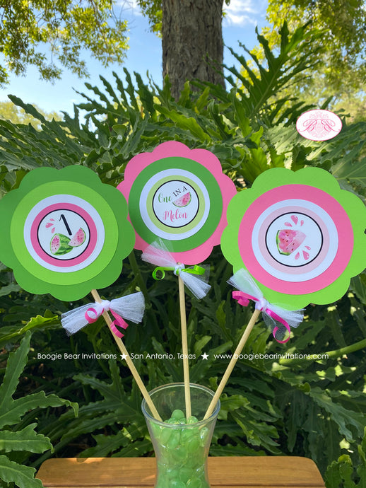 Pink Watermelon Birthday Centerpiece Set Party Girl One In Melon Two Sweet Green Summer Picnic Fruit Boogie Bear Invitations Darlene Theme