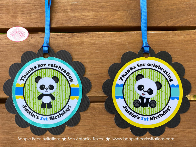 Panda Bear Birthday Party Favor Tags Boy Blue Black Yellow Green Zoo Wild Animals Kids Bamboo Plant Lil Boogie Bear Invitations Justin Theme