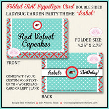 Load image into Gallery viewer, Ladybug Birthday Party Favor Card Tent Place Appetizer Food Tag Girl Red Black Blue Little 1st 2nd 3rd Boogie Bear Invitations Isabel Theme
