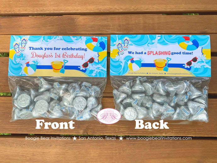 Splash Bash Party Treat Bag Toppers Folded Favor Birthday Swimming Beach Ball Ocean Swim Pool Girl Boy Boogie Bear Invitations Douglas Theme