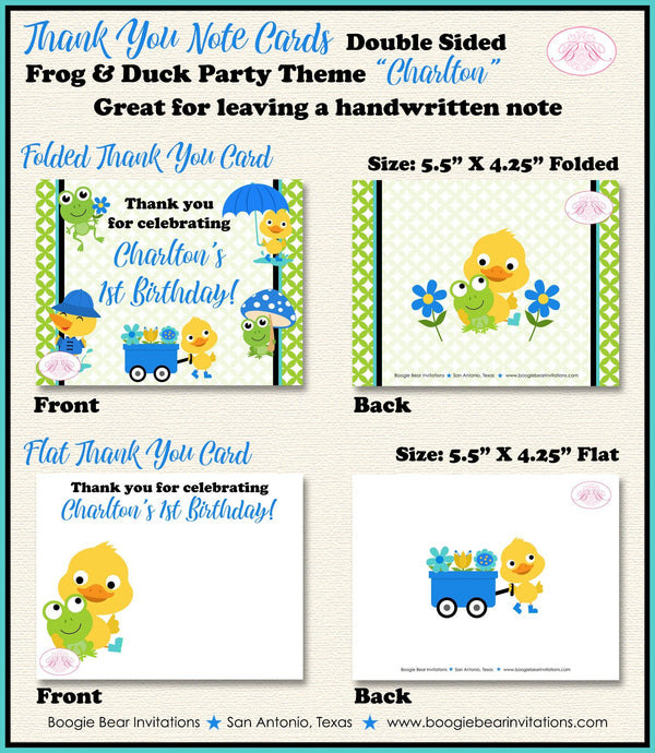 Frog Duck Party Thank You Card Birthday Boy Blue Spring Splash Garden Boogie Bear Invitations Charlton Theme Printed