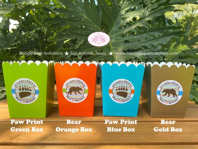 Grizzly Bear Popcorn Boxes Mini Food Buffet Birthday Party Cover Green Orange Blue Brown Gold Kodiak Roar Boogie Bear Invitations Nico Theme