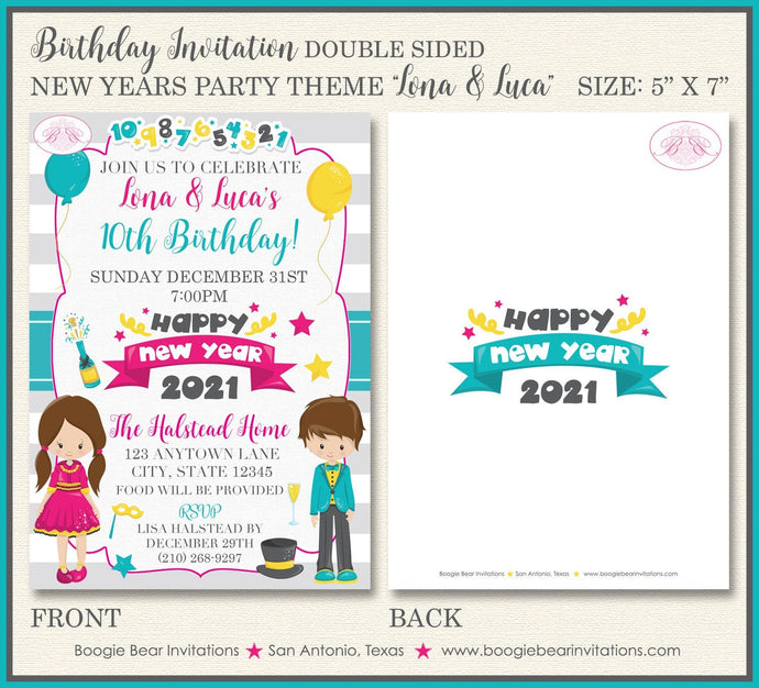 Twin Happy New Years Birthday Party Invitation Boy Girl 7th 8th 9th 10th Boogie Bear Invitations Lona Luca Theme Paperless Printable Printed