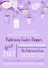 Load image into Gallery viewer, Purple Mason Jars Easter Party Invitation Whimsy Brunch Ladies Lavender Boogie Bear Invitations Patterson Theme Paperless Printable Printed