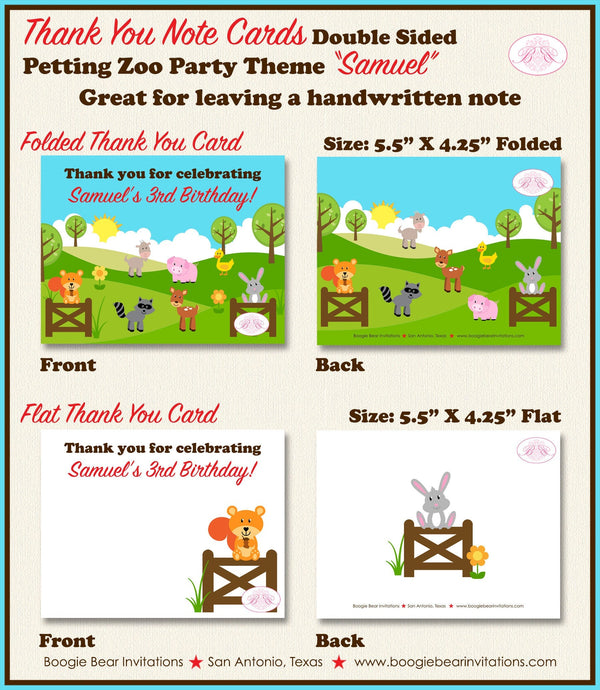 Petting Zoo Party Thank You Card Birthday Girl Boy Farm Animals Country Barn Woodland Creatures Boogie Bear Invitations Samuel Theme Printed