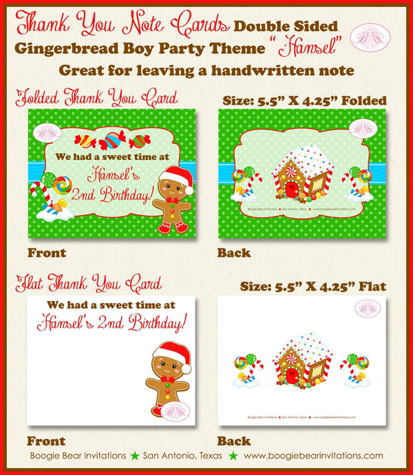 Gingerbread Boy Party Thank You Card Birthday Winter Christmas Candy House Snowflake Red Green Boogie Bear Invitations Hansel Theme Printed