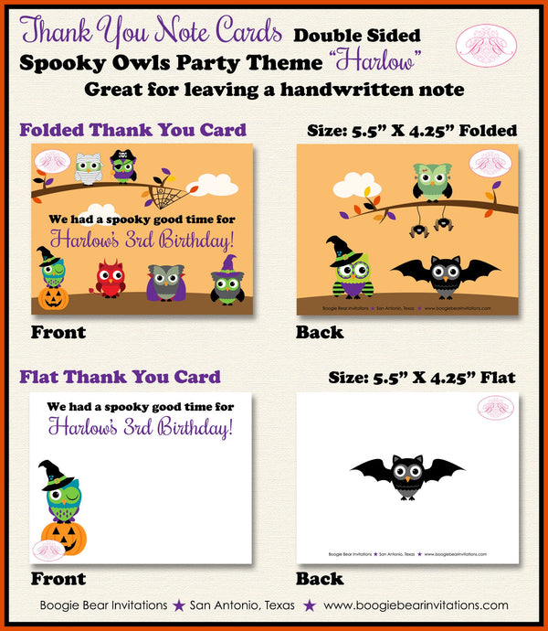 Halloween Owls Party Thank You Card Note Birthday Girl Boy Spooky Woodland Animal Pumpkin Witch Boogie Bear Invitations Harlow Theme Printed