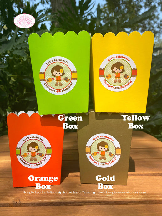 Autumn Girl Party Popcorn Boxes Mini Favor Buffet Food Birthday Harvest Fall Pumpkin Woodland Animals Boogie Bear Invitations Georgia Theme
