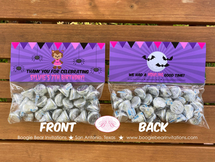 Werewolf Girl Birthday Party Treat Bag Toppers Folded Favor Spider Full Moon Howl Bat Halloween Forest Boogie Bear Invitations Sylvie Theme