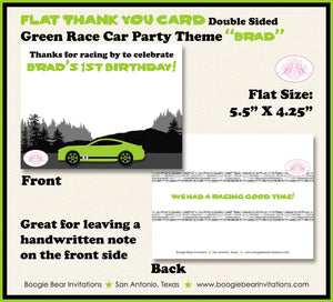 Green Race Car Birthday Party Thank You Card Note Circuit Course Sports Coupe Racing Lime Black Boogie Bear Invitations Brad Theme Printed