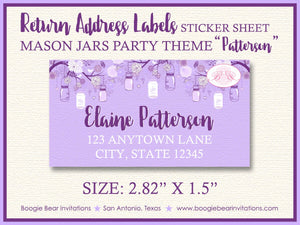 Purple Mason Jars Easter Party Invitation Whimsy Brunch Ladies Lavender Boogie Bear Invitations Patterson Theme Paperless Printable Printed