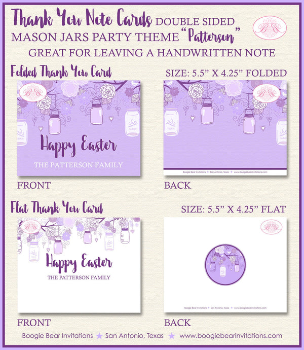 Purple Mason Jars Party Thank You Card Birthday Easter Whimsy Brunch Ladies Lavender Outdoor Boogie Bear Invitations Patterson Theme Printed