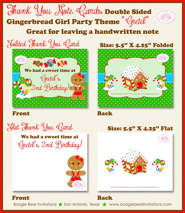 Gingerbread Girl Party Thank You Card Birthday Winter Christmas Candy House Snowflake Red Green Boogie Bear Invitations Gretel Theme Printed