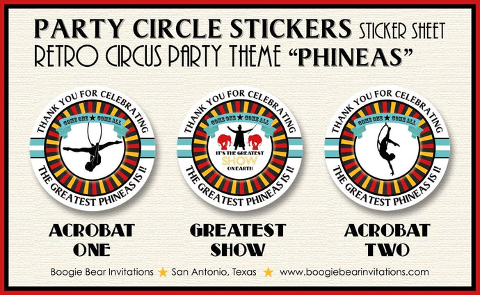 Circus Showman Birthday Party Stickers Circle Sheet Round 3 Ring Big Top Animals Red Yellow Blue Black Boogie Bear Invitations Phineas Theme