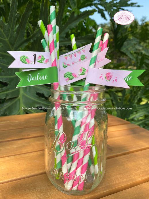 Pink Watermelon Birthday Party Straws Paper Pennant Birthday Girl One In Melon Two Sweet Summer Green Boogie Bear Invitations Darlene Theme