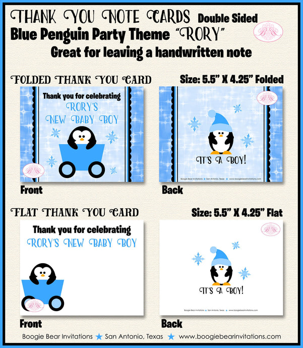 Blue Penguin Baby Shower Party Thank You Cards Girl Winter Little Snowflake Star Snow Christmas Boogie Bear Invitations Rory Theme Printed