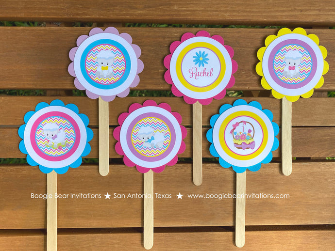 Spring Lambs Cupcake Toppers Birthday Party Sheep Girl Easter Pink Yellow Purple Farm Animals Flower Boogie Bear Invitations Rachel Theme