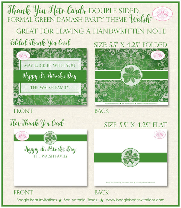 St. Patrick's Day Thank You Cards Party Note Irish Green Lucky Formal Damask Shamrock Holiday Boogie Bear Invitations Walsh Theme Printed