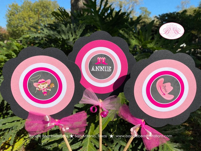 Pink Cowgirl Birthday Party Centerpiece Set Circle Horse Lasso Girl Hat Boots Country Black Chalkboard Boogie Bear Invitations Annie Theme