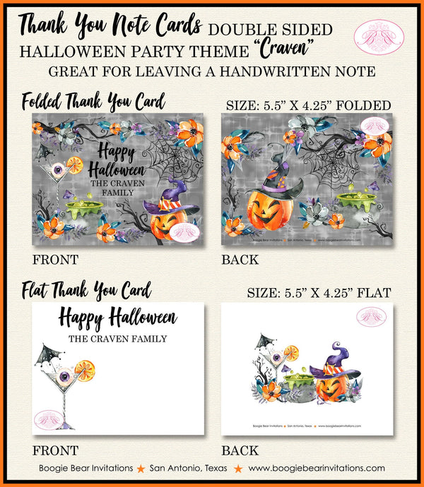 Halloween Witch Party Thank You Card Note Gift Pumpkin Cocktail Spiderweb Orange Black Cauldron Boogie Bear Invitations Craven Theme Printed