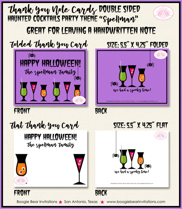 Haunted Cocktails Party Thank You Card Note Gift Spooky Spider Drinks Cake Witch Purple Black Boogie Bear Invitations Spellman Theme Printed