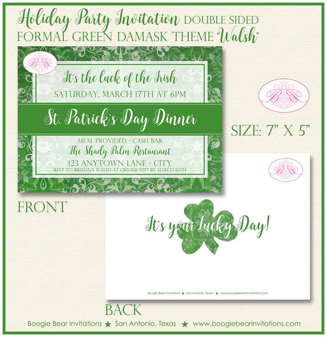 St. Patrick's Day Party Invitation Irish Green Lucky Formal Damask Holiday Boogie Bear Invitations Walsh Theme Paperless Printable Printed