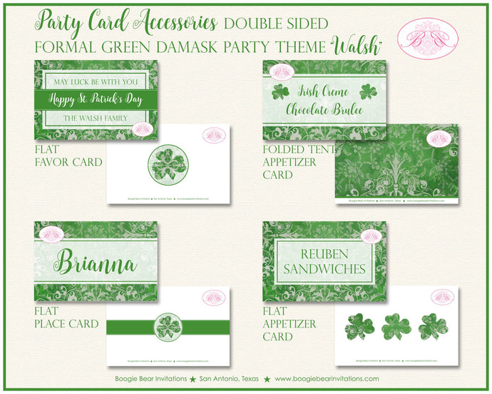St. Patrick's Day Favor Party Card Appetizer Tent Place Food Tag Irish Lucky Formal Green Damask Holiday Boogie Bear Invitations Walsh Theme