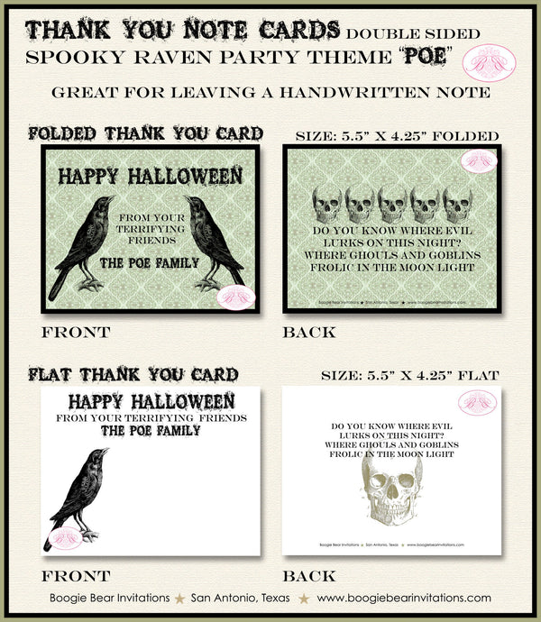 Spooky Raven Party Thank You Card Note Halloween Haunted House Rustic Skull Black Bird Crow Boogie Bear Invitations Poe Theme Printed