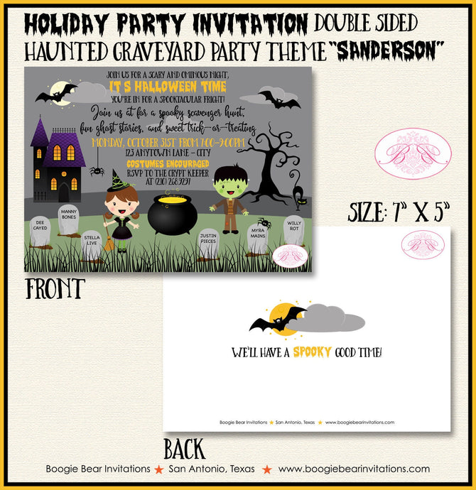 Haunted Graveyard Birthday Party Invitation Halloween Cemetery Bat Spider Boogie Bear Invitations Shelley Theme Paperless Printable Printed