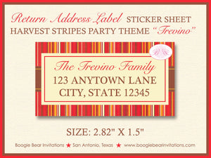Harvest Stripes Thanksgiving Party Invitation Autumn Leaf Fall Red Brown Boogie Bear Invitations Trevino Theme Paperless Printable Printed