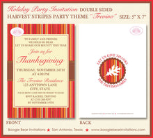 Load image into Gallery viewer, Harvest Stripes Thanksgiving Party Invitation Autumn Leaf Fall Red Brown Boogie Bear Invitations Trevino Theme Paperless Printable Printed