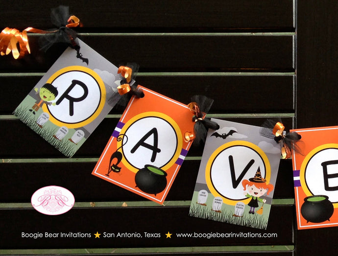 Halloween Birthday Party Name Age Banner Small Girl Boy Graveyard Haunted House Headstone Cemetery Boogie Bear Invitations Raven Lee Theme