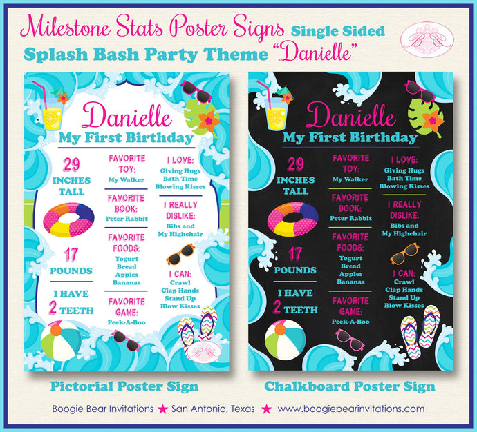 Splash Bash Birthday Party Sign Stats Poster Sign Frameable Chalkboard Milestone Pink Girl Pool Swim Boogie Bear Invitations Danielle Theme
