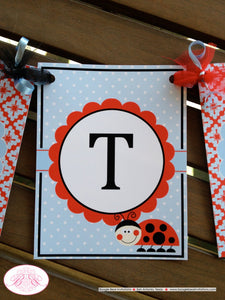 Ladybug Happy Birthday Party Banner Red Black Blue White Polka Dot Lady Bug Girl Blue Picnic Garden Boogie Bear Invitations Sabrina Theme