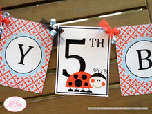 Load image into Gallery viewer, Ladybug Happy Birthday Party Banner Red Black Blue White Polka Dot Lady Bug Girl Blue Picnic Garden Boogie Bear Invitations Sabrina Theme