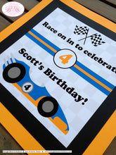 Load image into Gallery viewer, Race Car Birthday Party Door Banner Driver Racing White Orange Blue Black 1st 2nd 3rd 4th 5th 6th 7th Boogie Bear Invitations Scott Theme