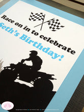 Load image into Gallery viewer, ATV Off Road Birthday Door Banner Happy Quad 4 Wheeler Boy Girl Blue Black 1st 5th 6th 7th 8th 9th 10th Boogie Bear Invitations Seth Theme