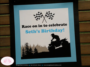 ATV Off Road Birthday Door Banner Happy Quad 4 Wheeler Boy Girl Blue Black 1st 5th 6th 7th 8th 9th 10th Boogie Bear Invitations Seth Theme