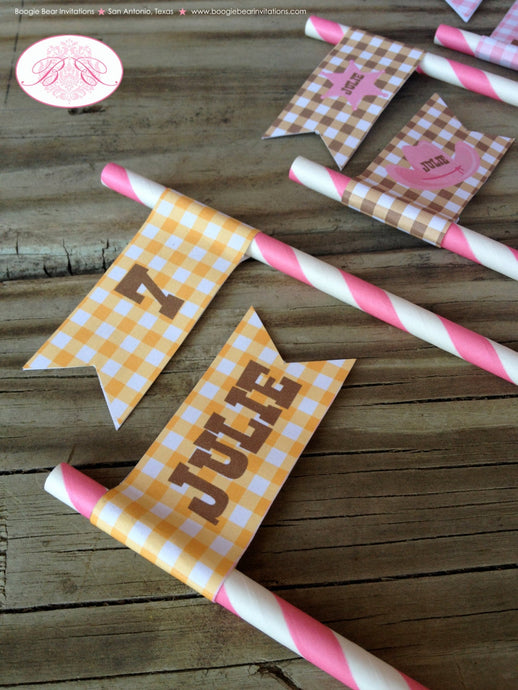 Pink Cowgirl Birthday Party Straws Paper Hat Wild West Ranch Brown 1st 2nd 3rd 4th 5th 6th 7th 8th 9th Boogie Bear Invitations Julie Theme