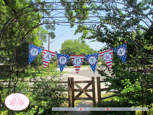 4th of July Large Pennant Party Banner Laminated Patriotic Freedom Stars Stripes Red White Blue Flag USA Boogie Bear Invitations Devon Theme