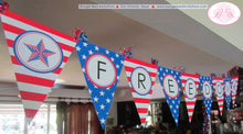 Load image into Gallery viewer, 4th of July Large Pennant Party Banner Laminated Patriotic Freedom Stars Stripes Red White Blue Flag USA Boogie Bear Invitations Devon Theme