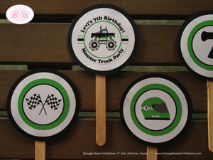 Monster Truck Birthday Cupcake Toppers Party Set Jam Green Girl Boy 1st 2nd 3rd 4th 5th 6th 7th 8th 9th Boogie Bear Invitations Levi Theme