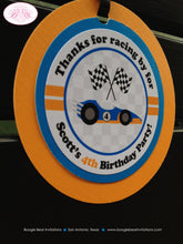 Load image into Gallery viewer, Race Car Birthday Party Favor Tags Blue Orange Circle Driver Boy Girl 1st 2nd 3rd 4th 5th 6th 7th 8th Boogie Bear Invitations Scott Theme